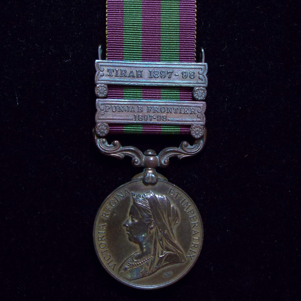 India Medal 1895-1902, 2 clasps: Tirah 1897-98 & Punjab Frontier 1897-98. Awarded to Multr Rangag C.Y.T. Dept. - BuyMilitaryMedals.com - 1
