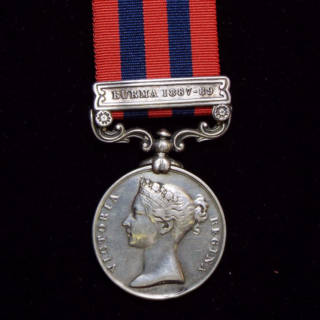 India General Service Medal 1854-95, 1 clasp: Burma 1887-89. Awarded to Pte. H. Foster, 1st Bn., Hamps Regt. - BuyMilitaryMedals.com - 1