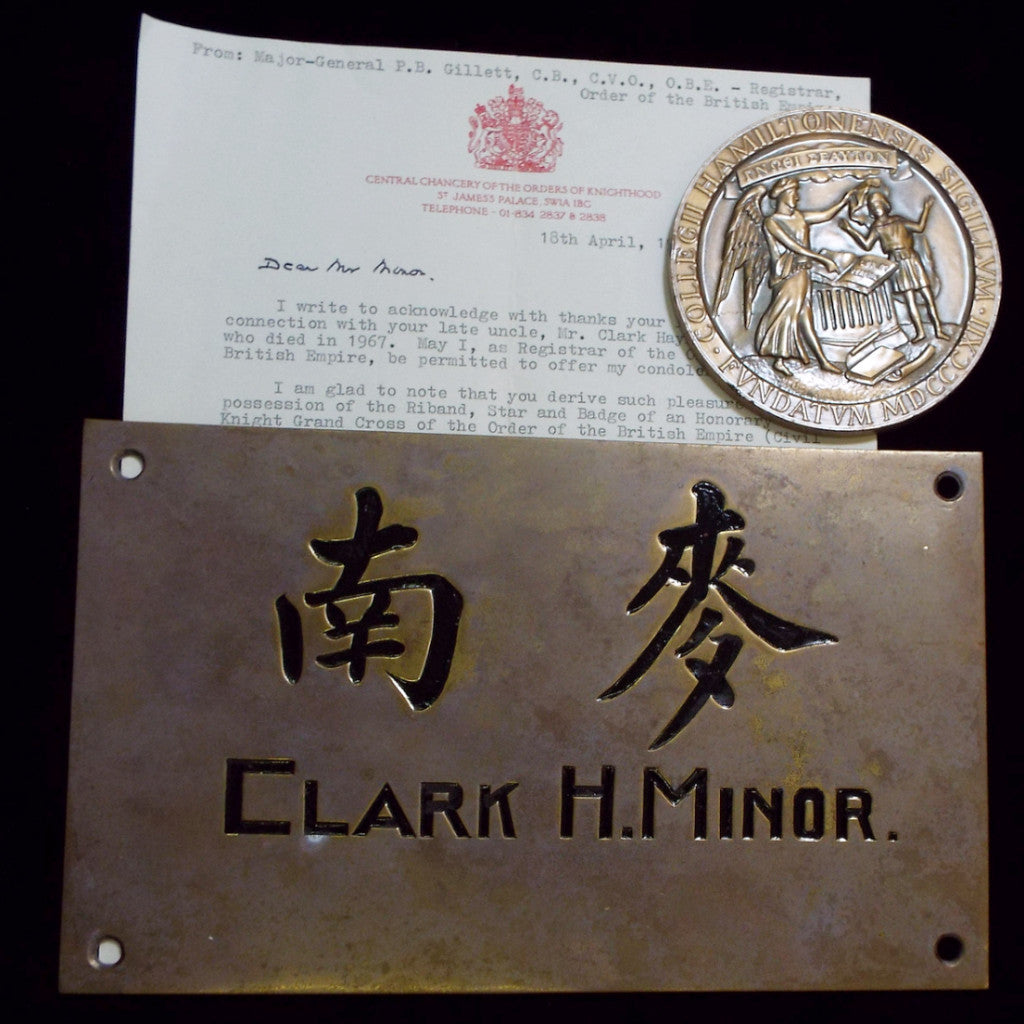 Medallion, plaque and original Buckingham Palace letter. Mr Clark H. Minor, Honorary Grand Commander of the British Empire, American Citizen, Steel Corporation - BuyMilitaryMedals.com - 1