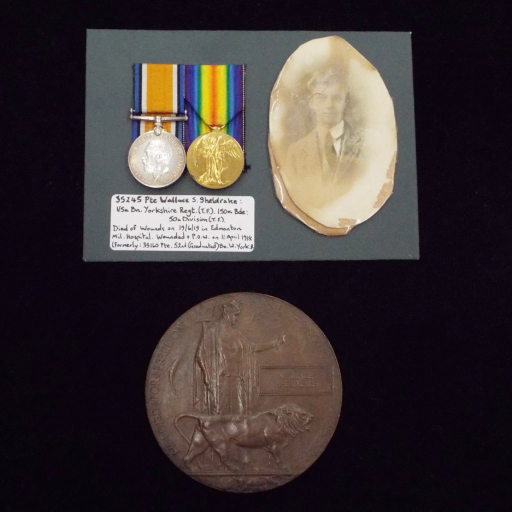 WW1 pair & Memorial Plaque to 35245 Pte. Wallace S. Sheldrake, 1/5th Bn., Yorkshire Regt. (T.F.), 150th Bde.: 50th Division (T.F.)