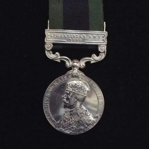 India General Service Medal (1908) 'Afghanistan N.W.F. 1919' clasp. Awarded to 635841 Gnr. Thomas Band, R.F.A., 1st Indian Divisional Ammo Column
