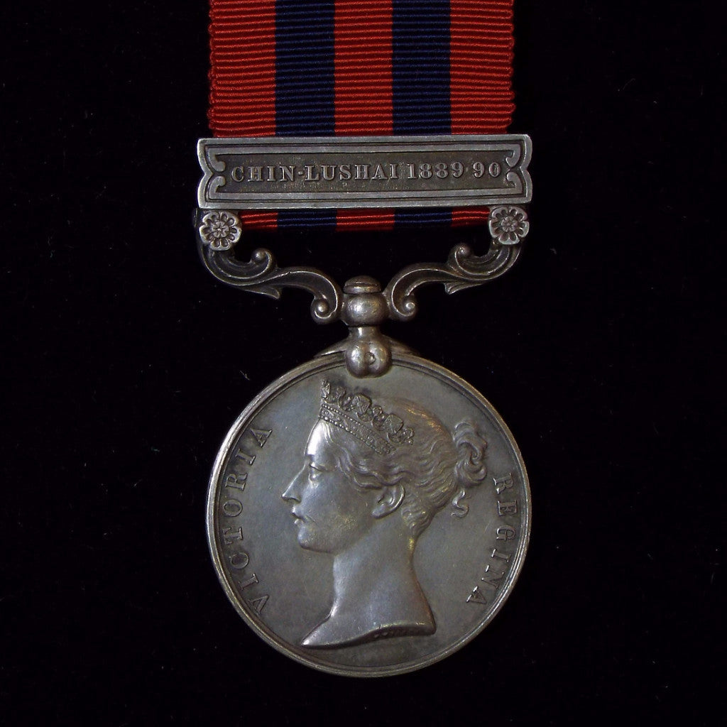 India General Service Medal 1854-95, 1 clasp: Chin-Lushai 1889-90. Awarded to Pte. Pandnac Kustnac, 28 Bo. Infy. - BuyMilitaryMedals.com - 1