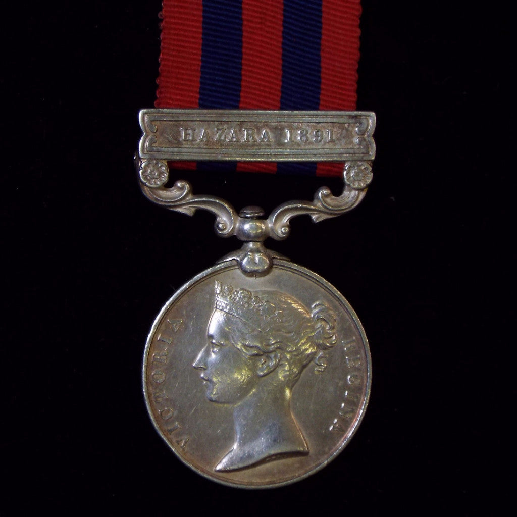 India General Service Medal 1854-95, 1 clasp: Hazara 1891. Awarded to Sapper Singh, 4th Company, Sappers & Miners - BuyMilitaryMedals.com - 1