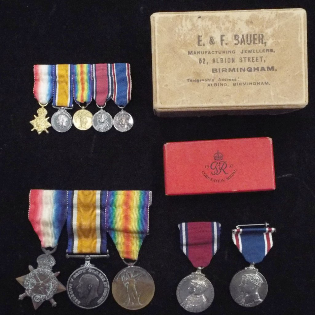Group of 5 medals with miniatures to 2114 Pte. J. L. Harrison, 9th Bn., The (Lothian Regt.) Royal Scotts, R.E.