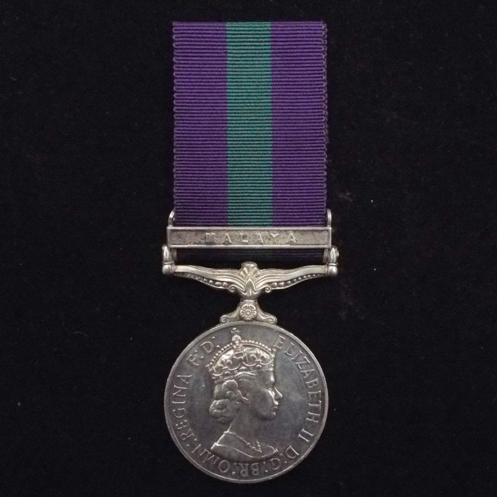 General Sevice Medal (Malaya clasp) to 23235128 Tpr. D. Peters, King's Dragoon Guards