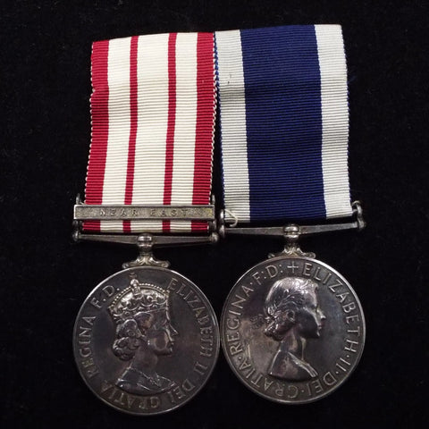 Naval General Service Medal (Near East clasp)/ Naval Long Service & Good Conduct Medal pair to P/JX 712912 R. A. Bowring, R.S. Royal Navy, H.M.S. President (L. TEL)