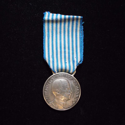 Italy Army Long Command Merit Medal, silver, H.M., pre-war - BuyMilitaryMedals.com - 1