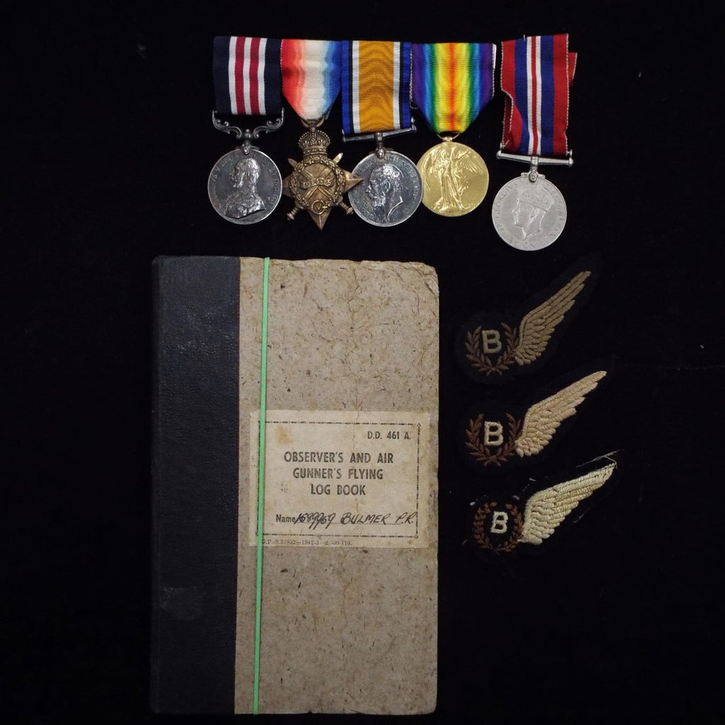 Military Medal group of 4 to 62234 Cpl. Percy C. L. H. Bulmer, 18- Divisional Signal Coy., R.E. Includes Flying Log Book as a Bomb-Aimer (1944-45)/ 'B' Brevet (no ops) & son's 1939-45 War Medal