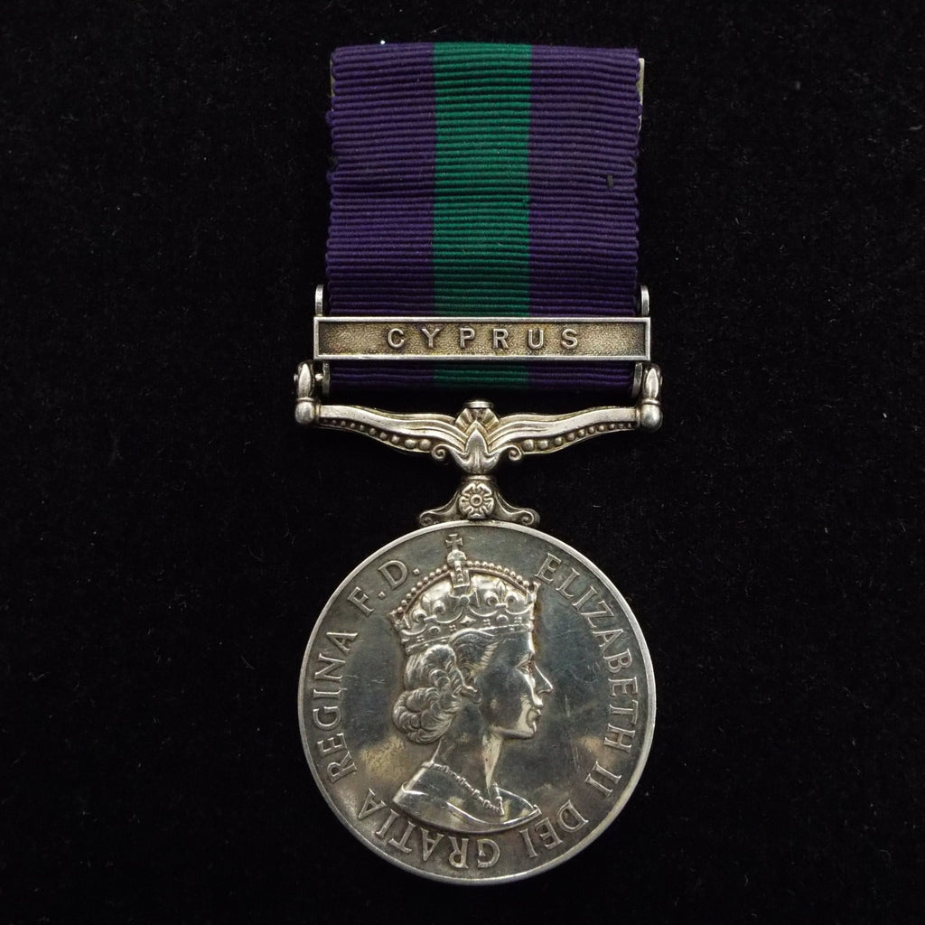 General Service Medal (Cyprus clasp) to 23130749 Pte. D. Ewing, Gordons.