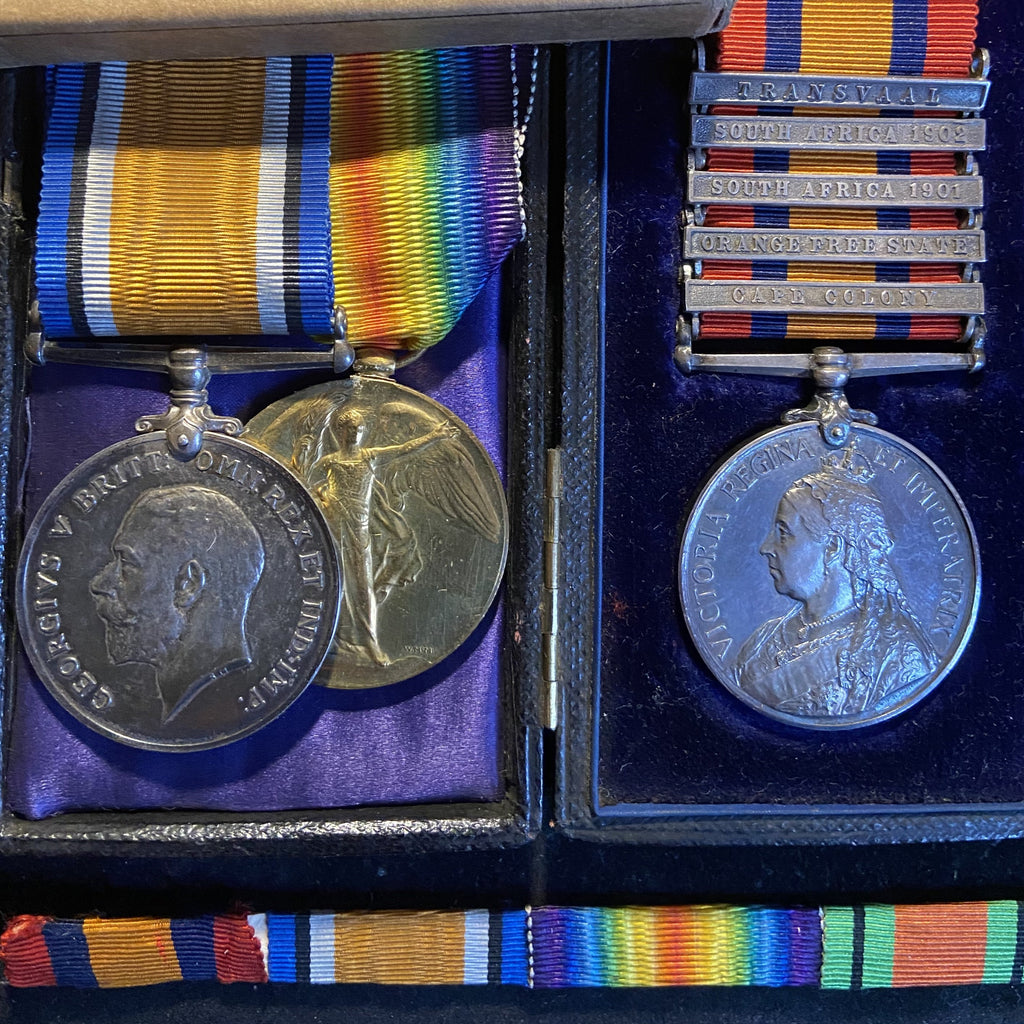 Queens South Africa Medal (5 bars) to 33930 Pte. M. Spragg, 87 Imperial Yeomanry & WW1 pair (96625 Royal Artillery)