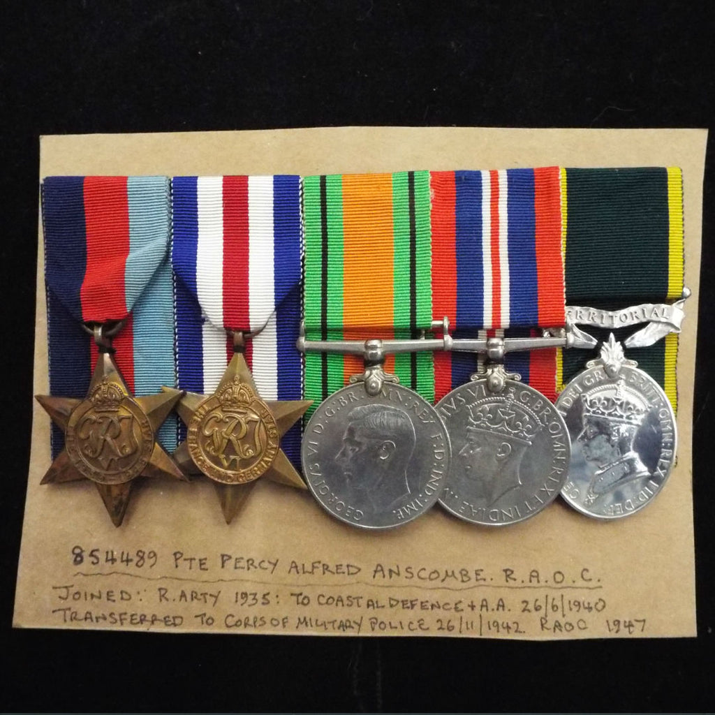 Group of 5 to 864489 Pte. P. A. Anscombe, R.A.O.C. (served in France & Germany 1944-45) wit copy of R. Arty. attestation. Efficiency Medal (GVI) 'Territorial' bar