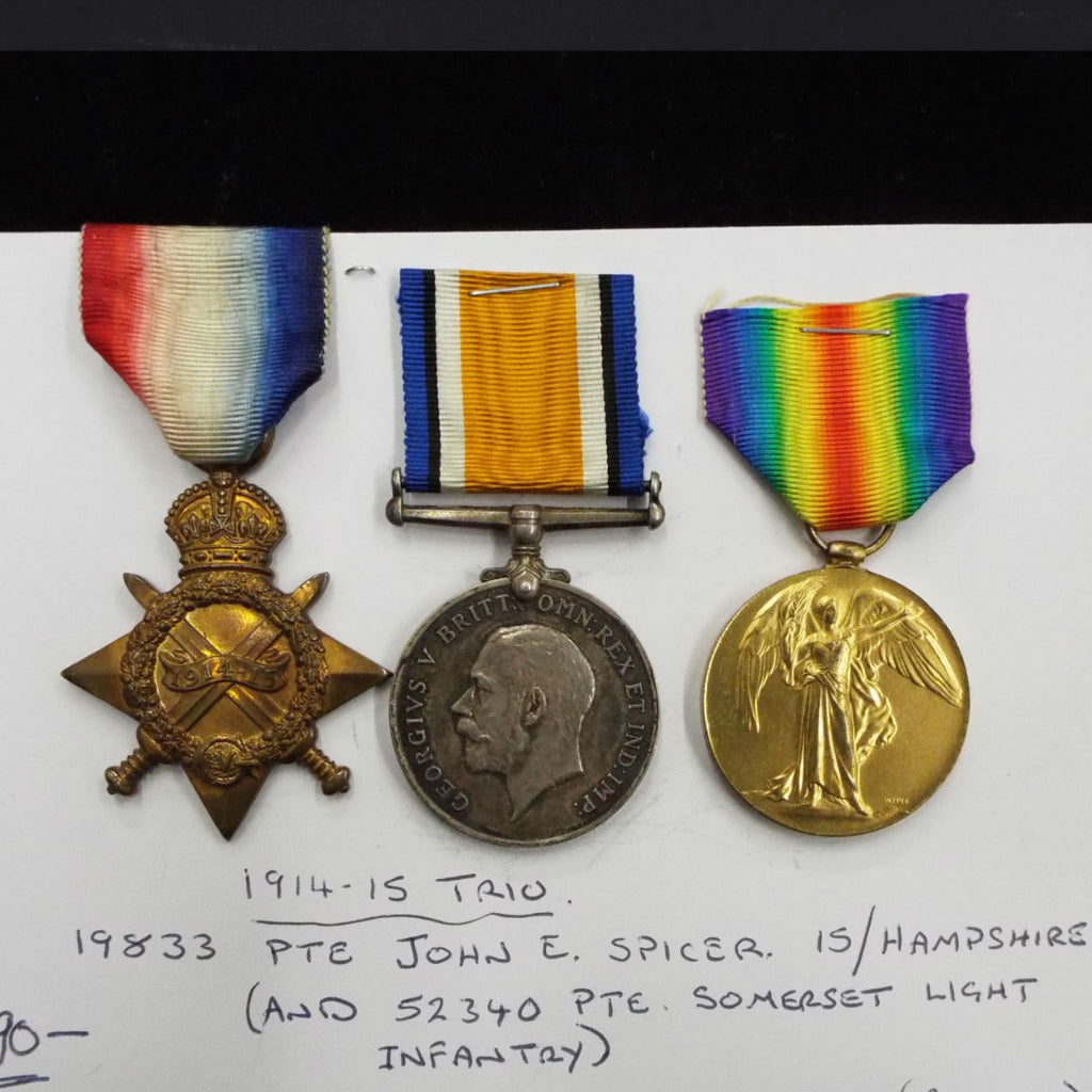 WW1 trio to 19833 Pte. John E. Spicer, 15/ Hampshires (and 52340 Pte. Somerset Light Infantry). Served Gallipolli 22.09.1915
