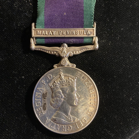 General Service Medal, Malay Peninsula bar, to 085945 M(E)1 J. F. Croskery, Royal Navy