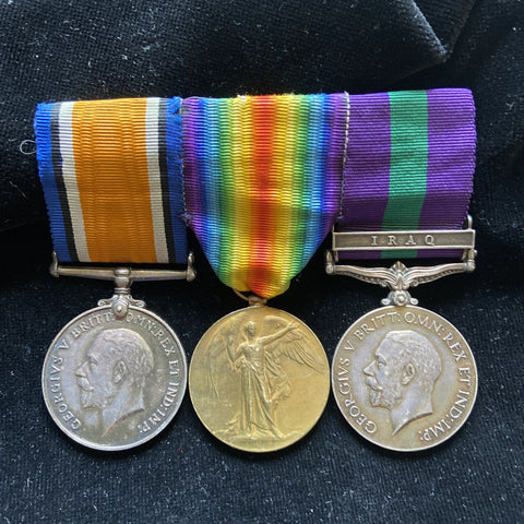WW1 group of 3 to 2Lt. E. I. Thompson, A.S.C., Iraq clasp on GSM