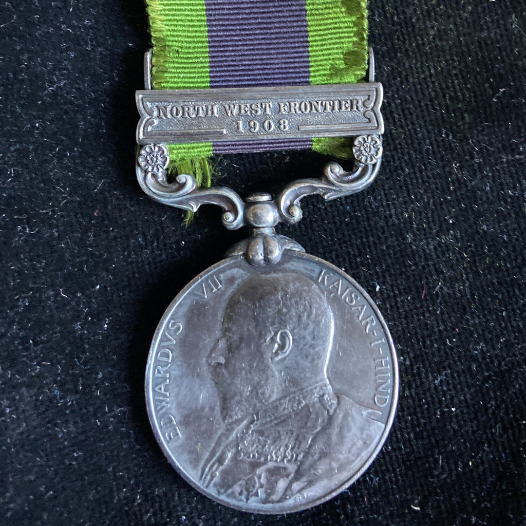 India General Service Medal 1908-35, King Edward VII issue, North West Frontier 1908 bar, to Sepoy Portas Singh, 53 Sikhs Frontier Force