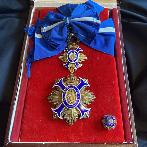 Spain, Order of Civil Merit, Grand Cross, a nice silver gilt 2 piece made set
