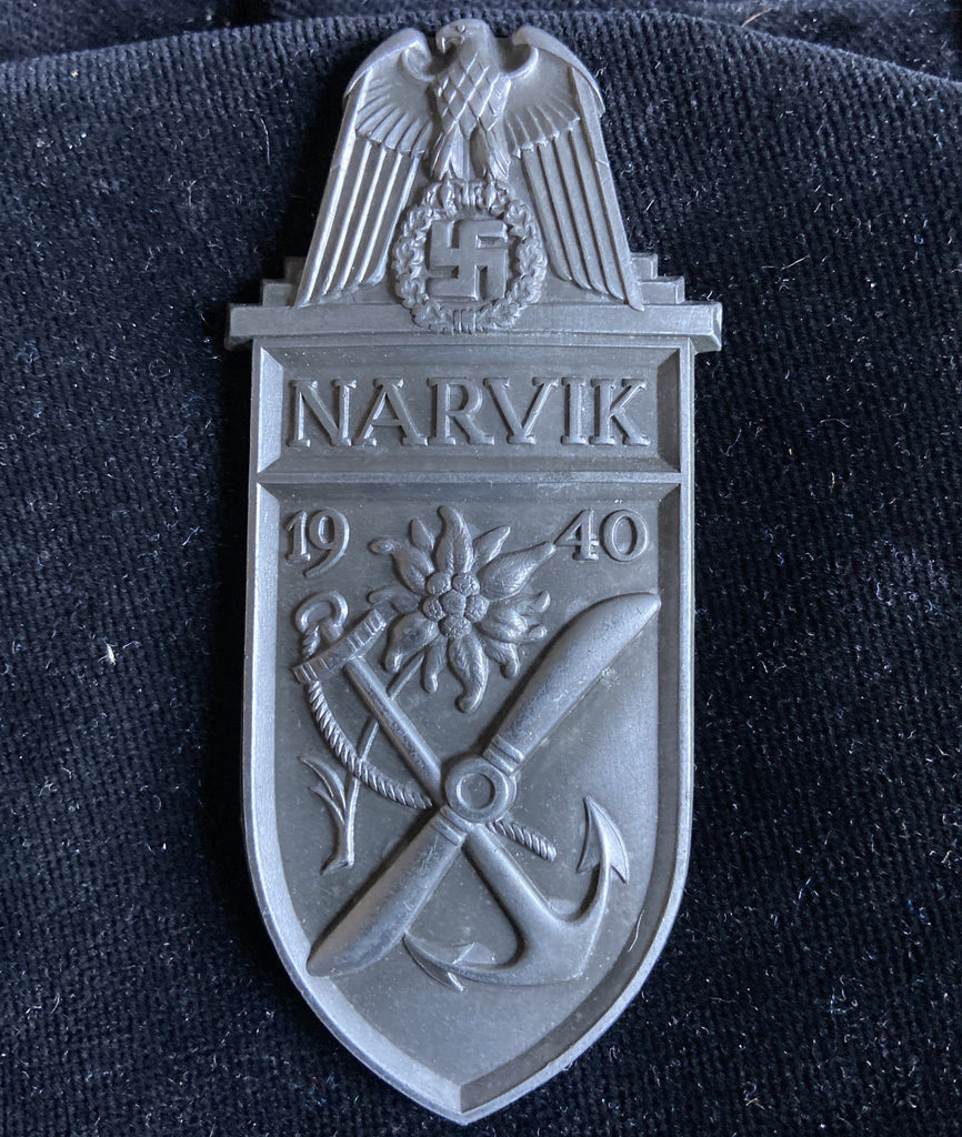 Nazi Germany, Narvik Shield, white metal for army or Luftwaffe, no backplate