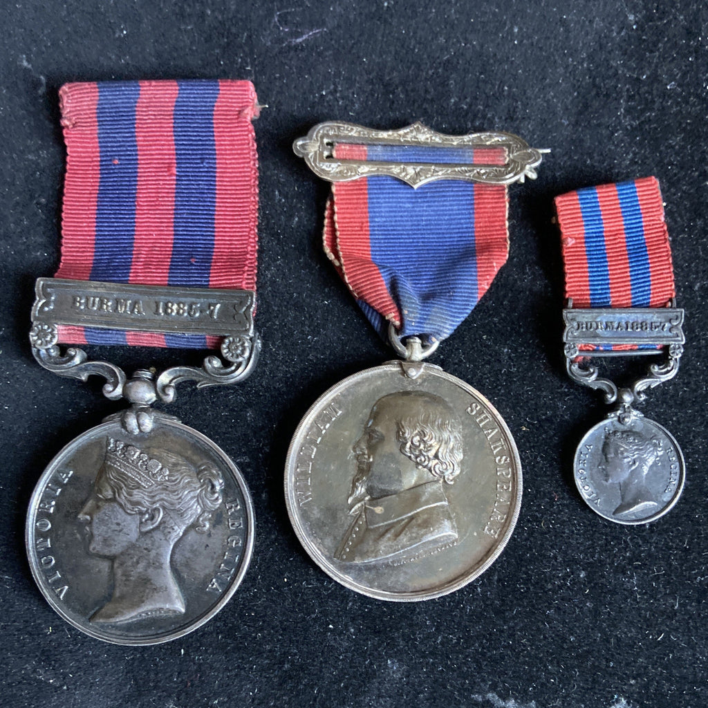 India General Service Medal 1854 (Burma 1886-87 bar) to Col. T. J. H. Wilkins, Indian Medical Service, CBE. With miniature and school medal to his daughter