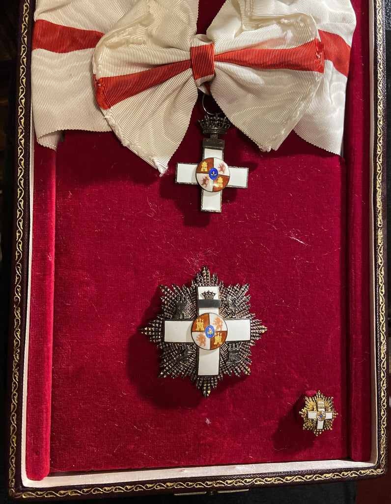 Spain, Order of Merit, Grand Cross set, early type, in case made by F. Laz of Madrid