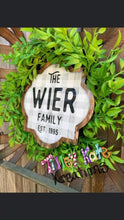Load image into Gallery viewer, Tobacco Stick Basket Wreath or Door Hanger with Last name and EST date
