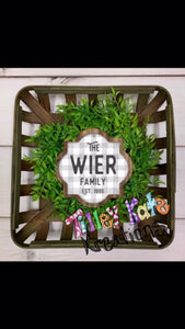 Tobacco Stick Basket Wreath or Door Hanger with Last name and EST date
