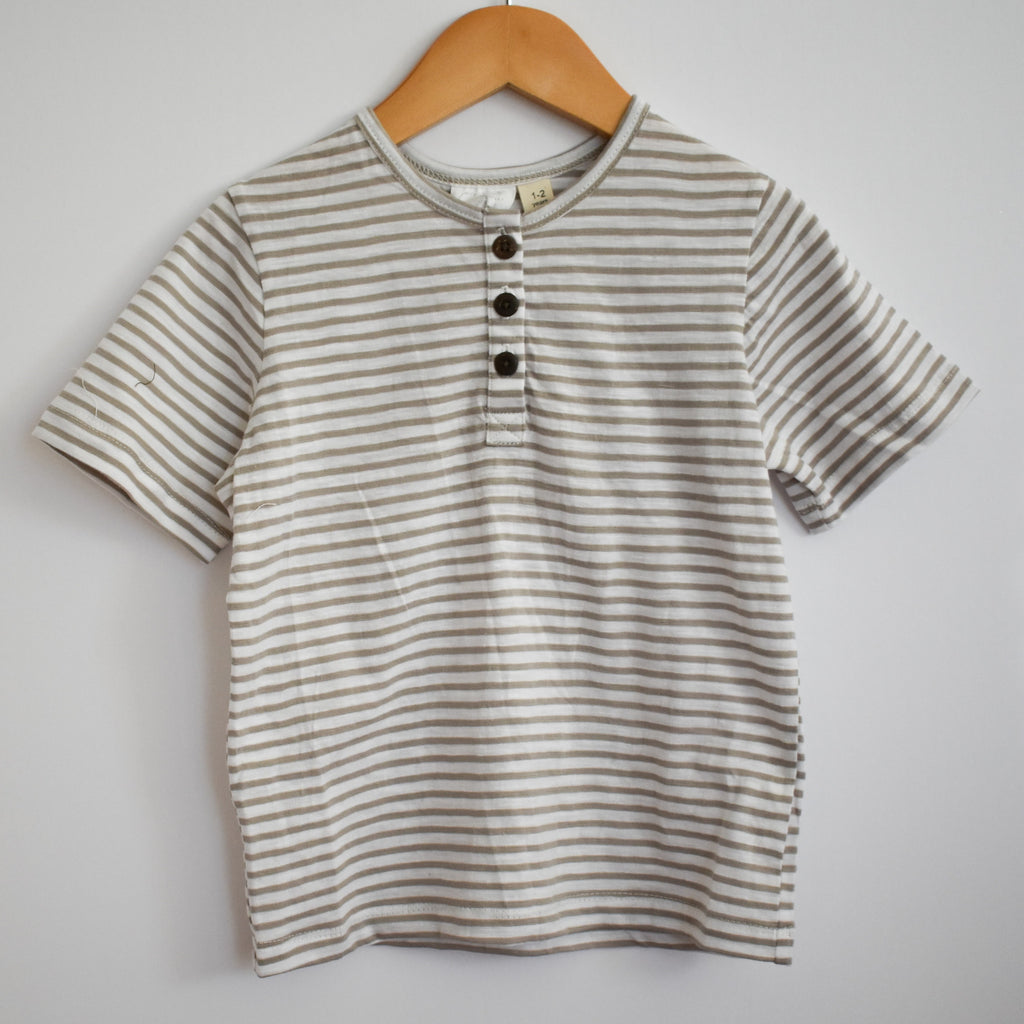 Stripe Cotton Tee- Sand