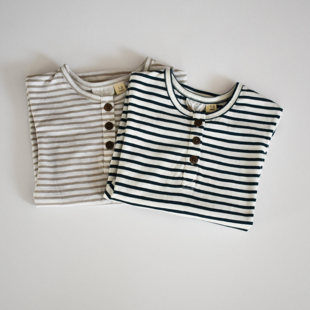 Stripe Cotton Tee- Navy
