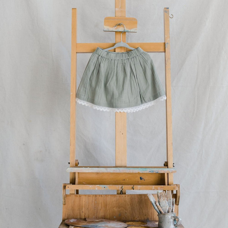 Cotton Skirt- Sage