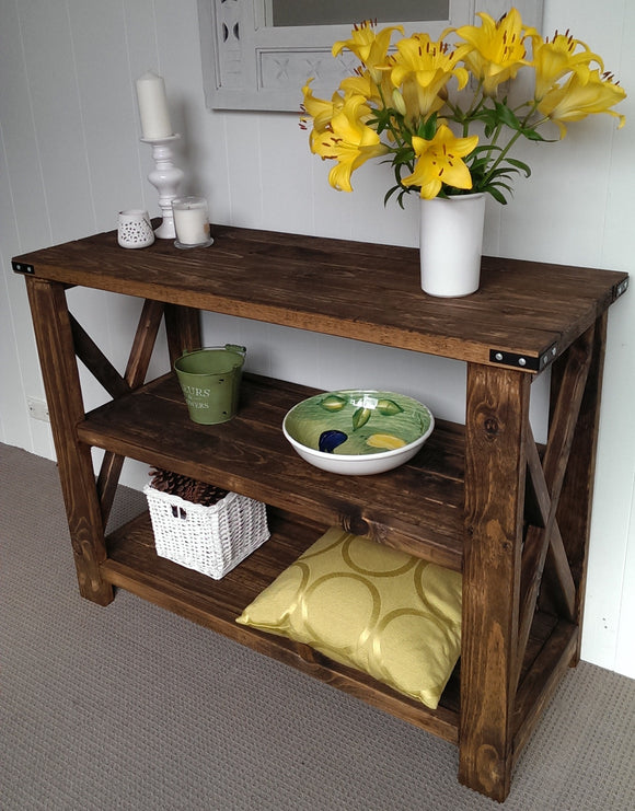 1.2 m Rustic Range Hall Table with Middle Shelf