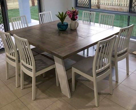 1.44 m Square Farmhouse Dining Table - can also be made with straight legs