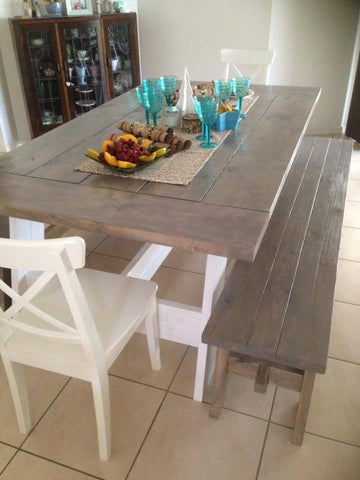 2.1 m Rectangular Farmhouse Dining Table - can also be made with straight legs.