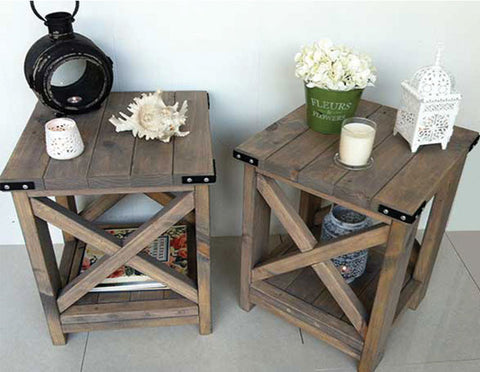 PAIR of Rustic Side Tables