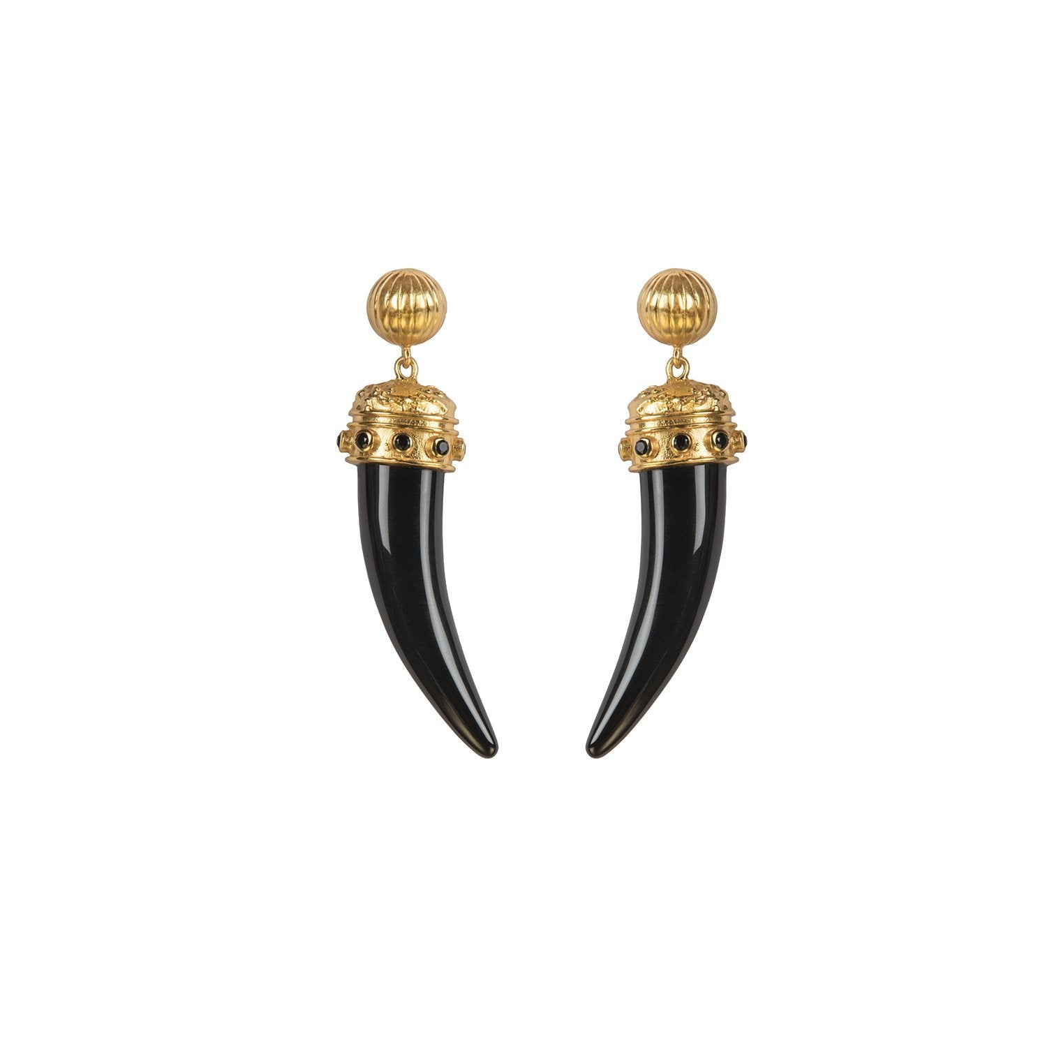 VALERE BLACK ONYX LIONESS EARRINGS MULTI