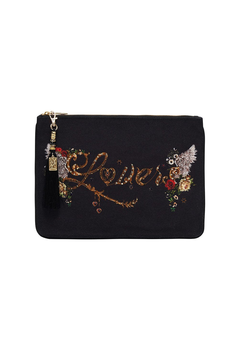 SMALL CANVAS CLUTCH SOLID BLACK
