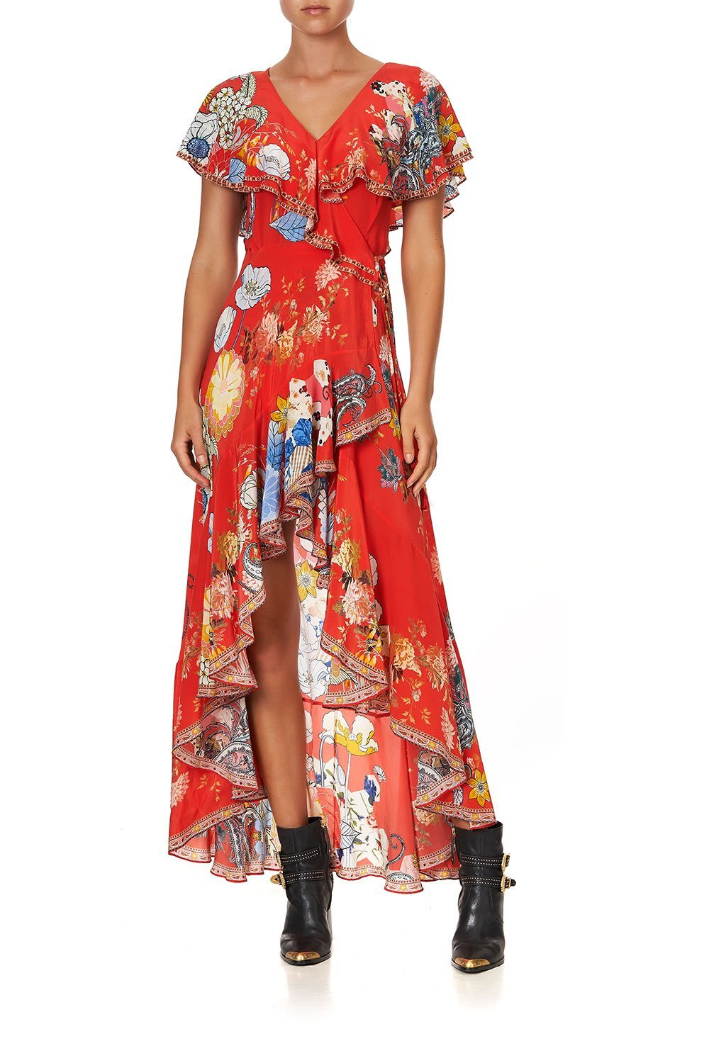 FRILL SLEEVE LONG DRESS PAISLEY IN PATCHES