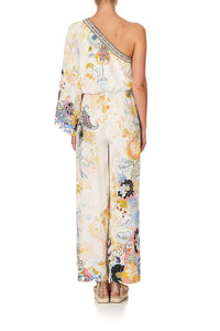 ONE SHOULDER FLARED JUMPSUIT BRITAIN BOUQUET