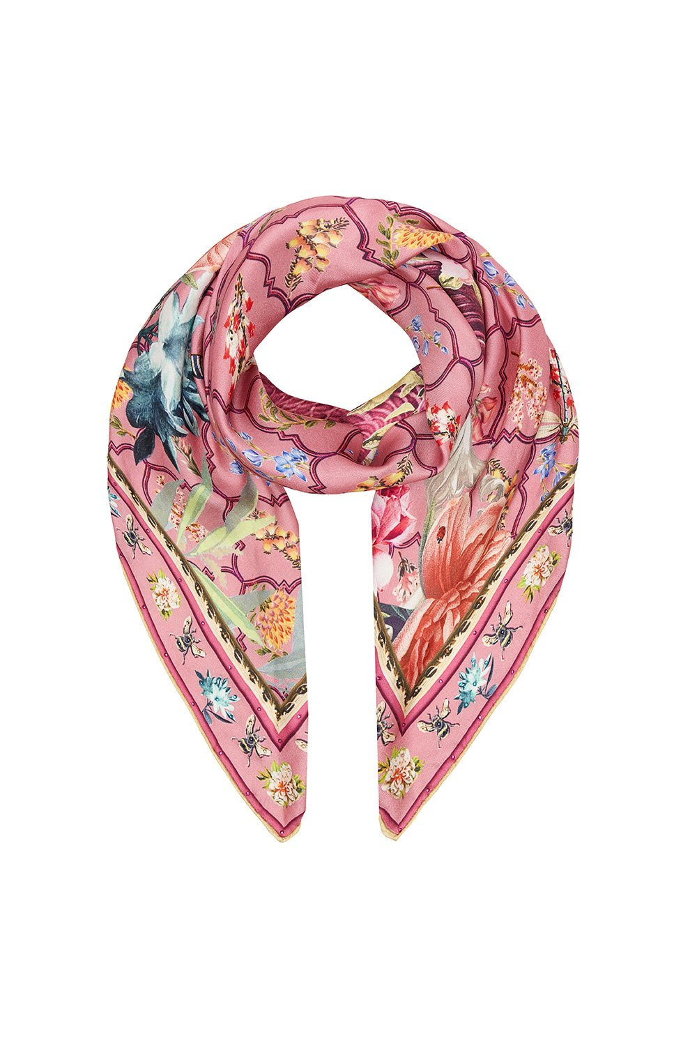 LARGE SQUARE SCARF PATCHWORK HEART
