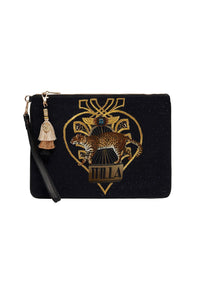 ZIP TOP CLUTCH WITH WRISTLET ABINGDON PALACE