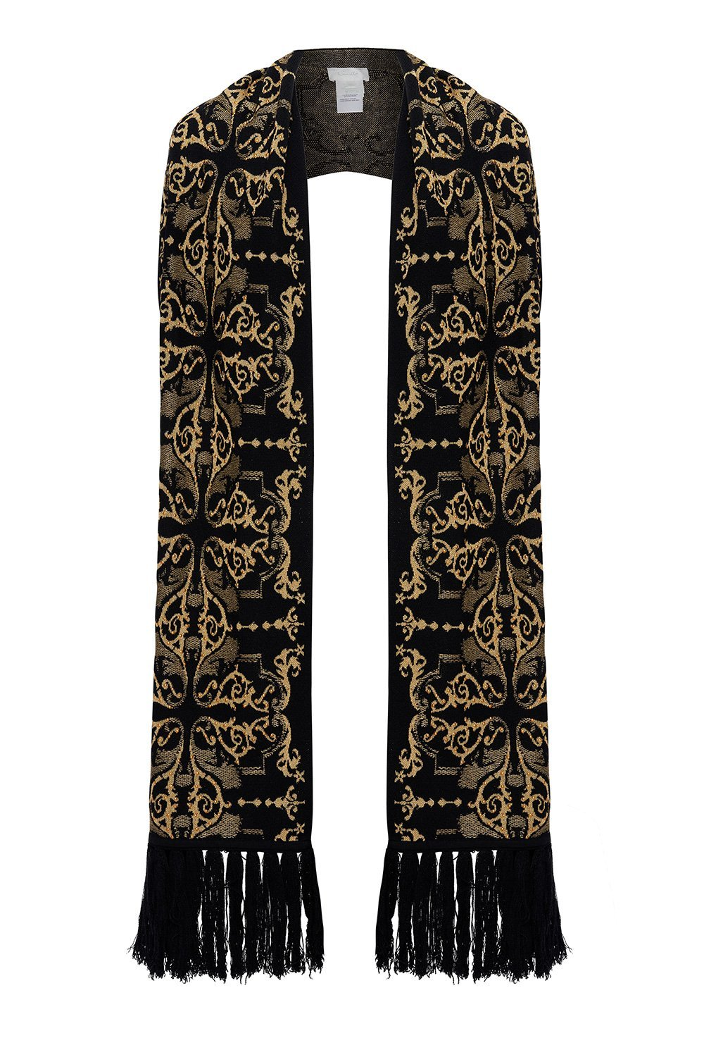 JACQUARD SCARF WITH FRINGING SOLID BLACK