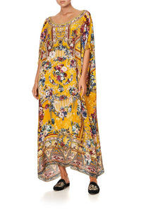 ROUND NECK KAFTAN CROWNED ROSES
