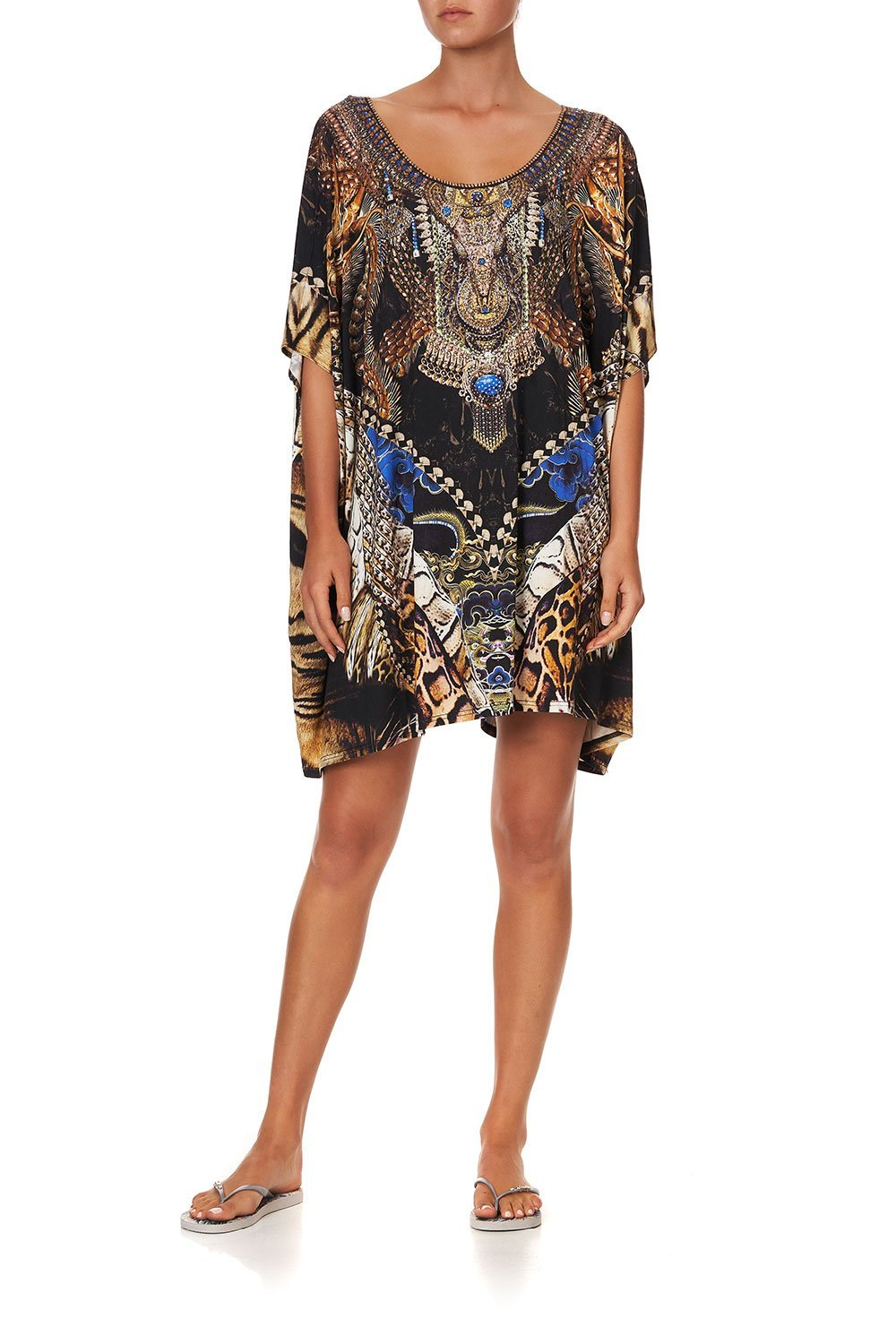 SHORT ROUND NECK LOUNGE KAFTAN DRAGON LADY