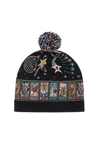 KNIT BEANIE WITH POM POM MIDNIGHT MOON HOUSE