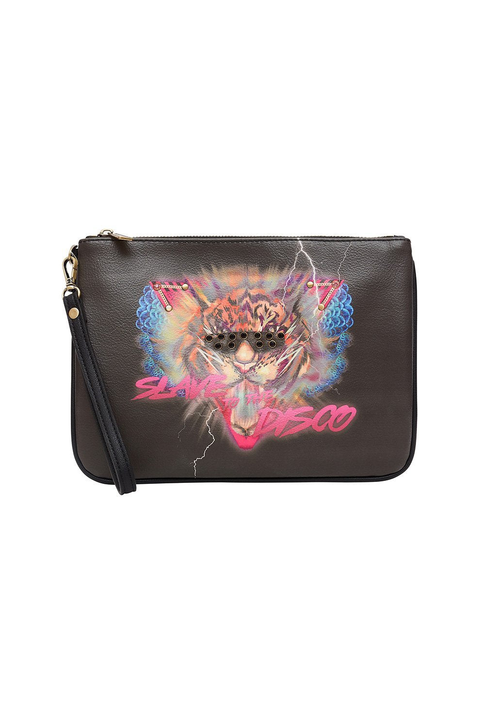 VEGAN LEATHER ZIP TOP CLUTCH SLAVE TO THE RHYTHM