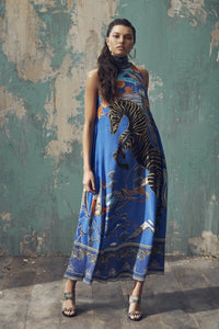 HIGH NECK DRESS WITH BACK NECK TIE TREE OF LIFE