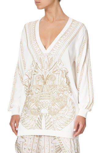 EMBELLISHED V NECK KNIT THE QUEENS CHAMBER