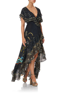 FRILL SLEEVE LONG DRESS WISE WINGS