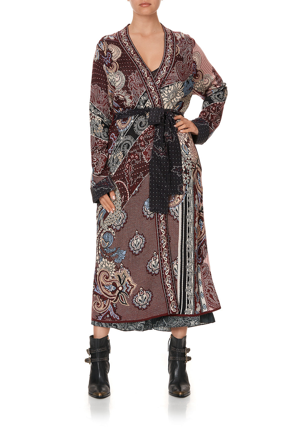 KNIT COAT WITH WOVEN DETAIL TALE OF THE FIRE BIRD