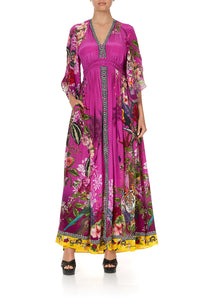 LONG DRESS WITH SMOCKED WAIST JUNGLE LANGUAGE