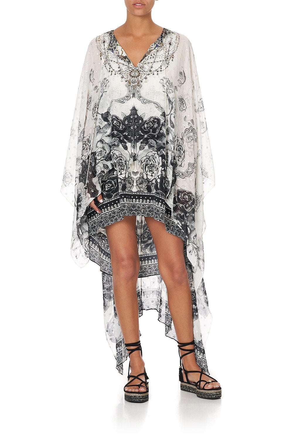 LONG SHEER OVERLAY DRESS MIDNIGHT PEARL