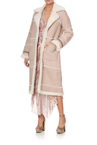 LONG SUEDE SHEARLING COAT FLOW ISTENANYA